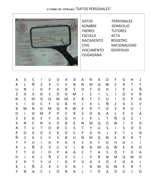 Sopa de letras de los datos personales
