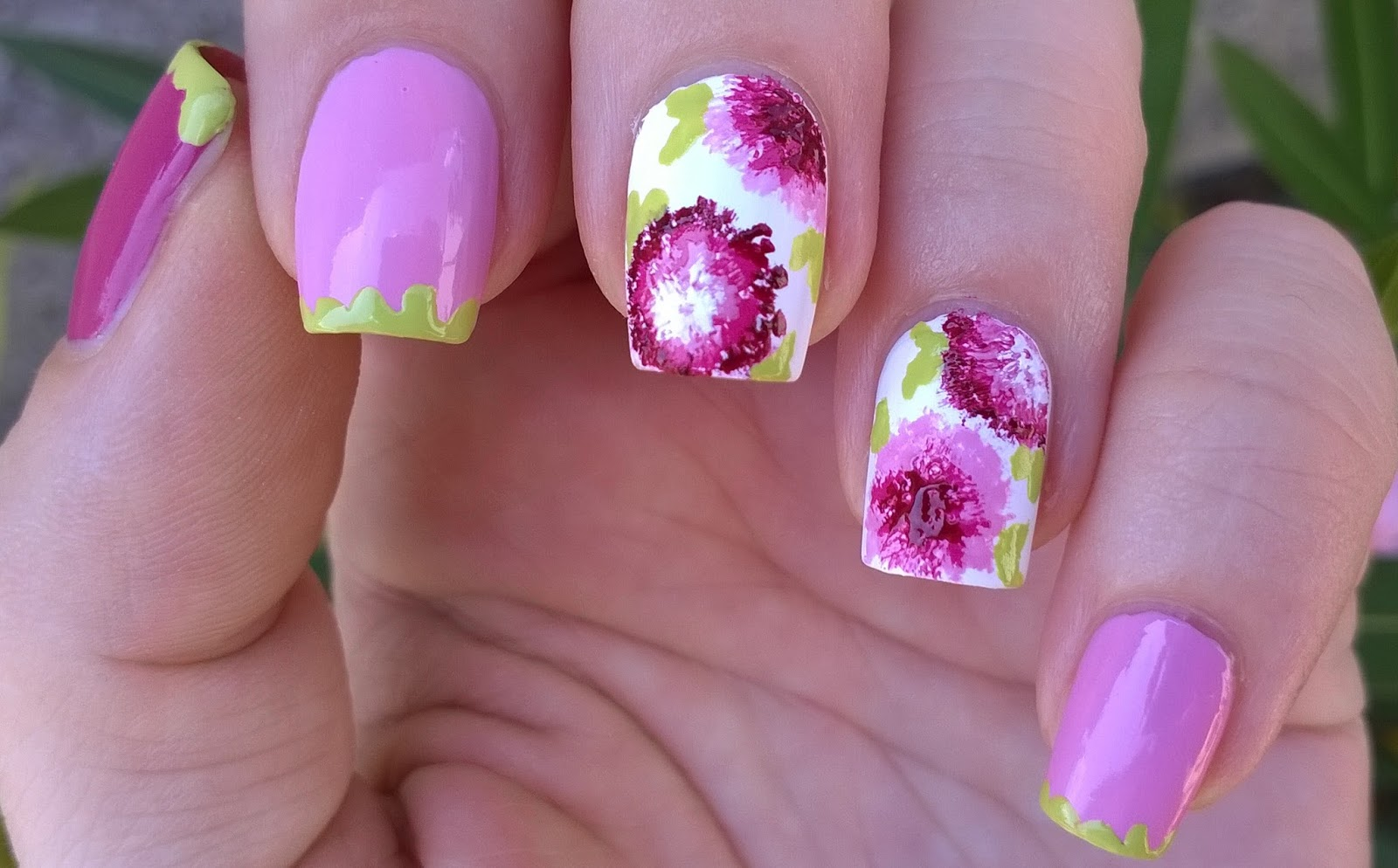 Life World Women Dry Brush Flowers Floral Nail Art Without Tool