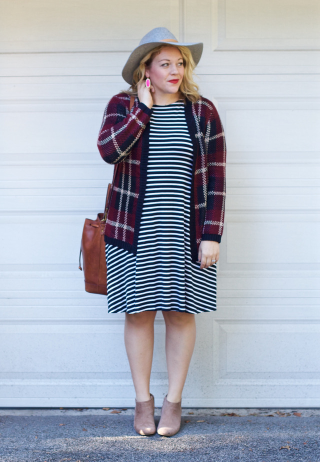 Cute fall outfit with stripes and plaid