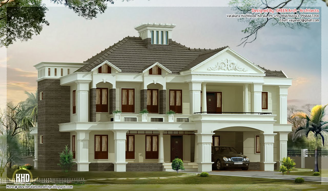 4 bedroom victorian style luxury villa design kerala for 4 bedroom villa plans