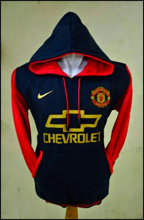 New Jumper Hoodie Bola Kombinasi 2014 - 2015 Manchester United MU Chevrolet (hitam kombinasi merah) sponsor kuning emas