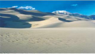 Contoh sedimentasi eolis. (Sumber : Microsoft Encarta)