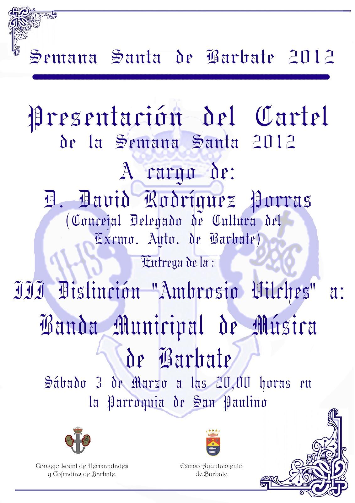 Semana Santa Barbate: Presentacion Cartel Semana Santa y III ...