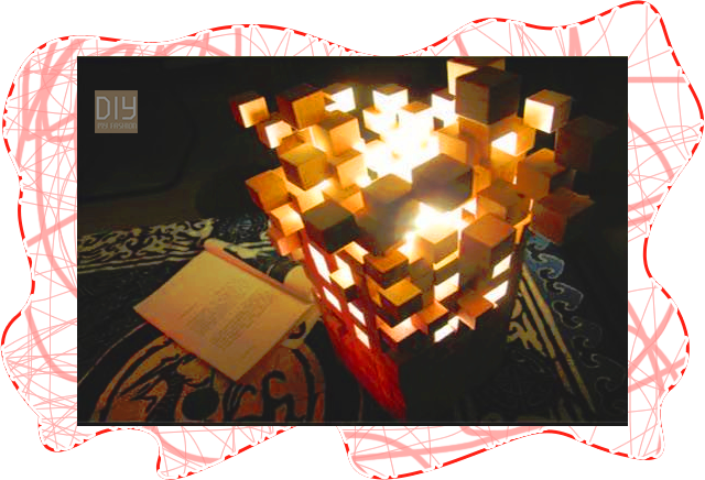 DIY โคมไฟประดิษฐ์จากไม้ลูกบาศก์ขนาดเล็ก