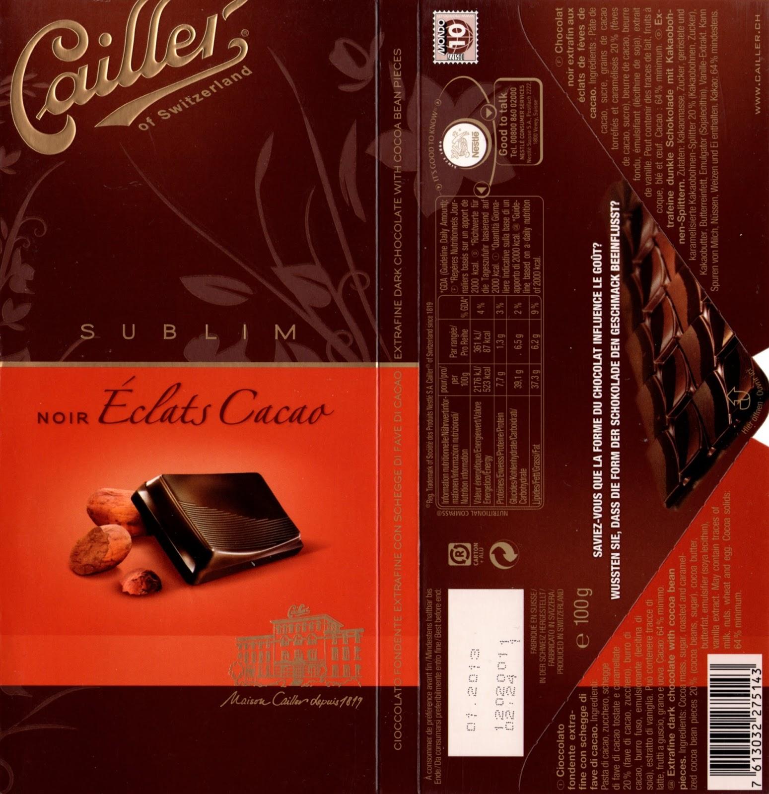 tablette de chocolat noir gourmand cailler sublim noir eclats cacao