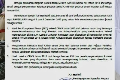 Cek Pengumuman Hasil Tes CPNS 2013 Seluruh Indonesia