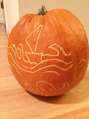 Carving of Seascape on Pumpkin