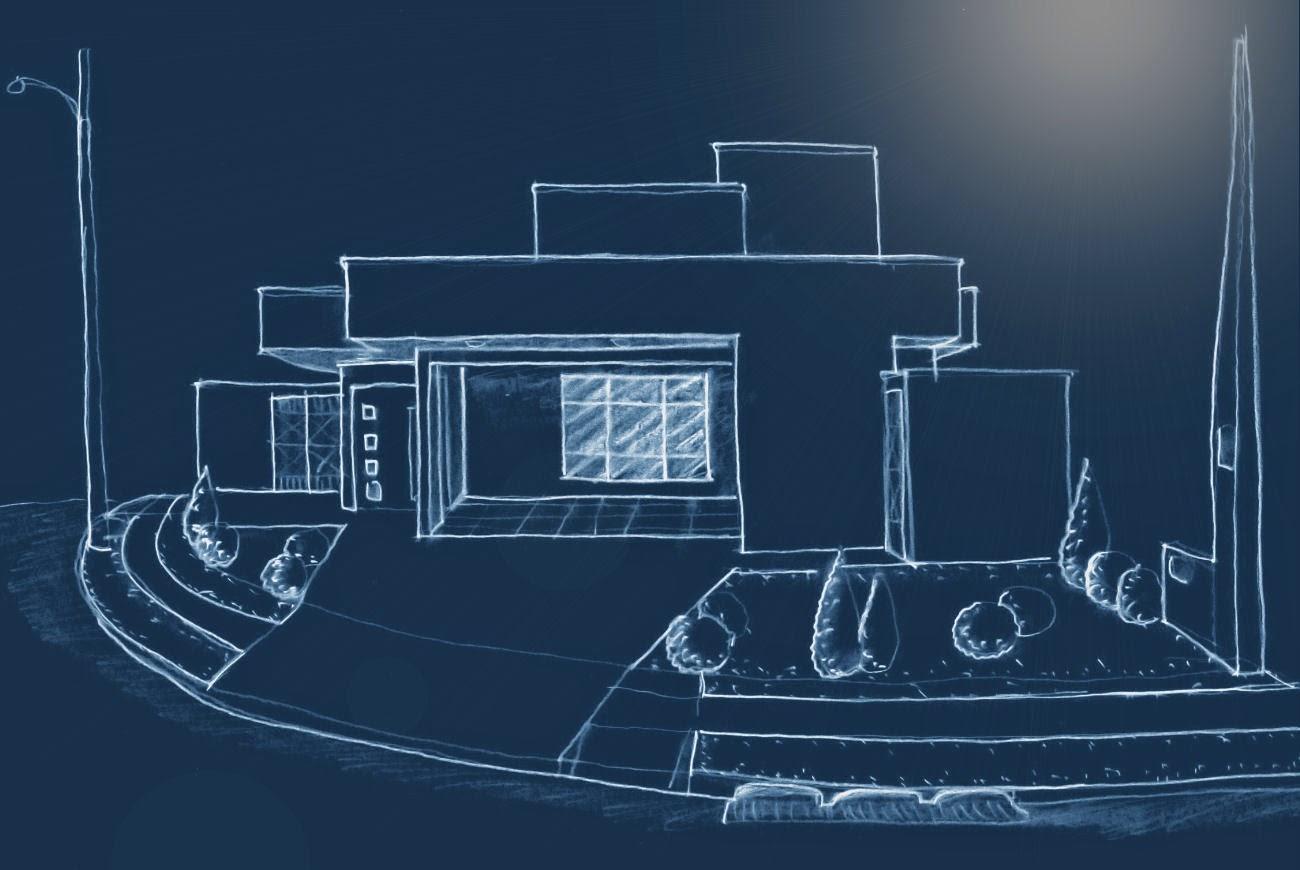O estudo da fachada, feito a mão livre, prevê a integração dos muros de fechamento do lote com o partido arquitetônico do imóvel.