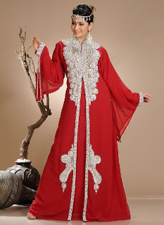 Ravishing Maroon and Red Georgette Kaftan with Crystal Embroidery Work