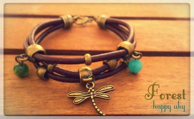 happy uky pulseras forest libelula bracelets  cuero handmade