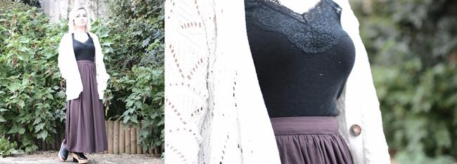 girl in garden wearing maxi skirt