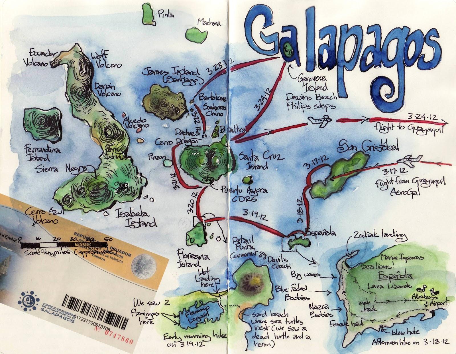 Kens Sketch Journal Galapagos Map - Galapagos map