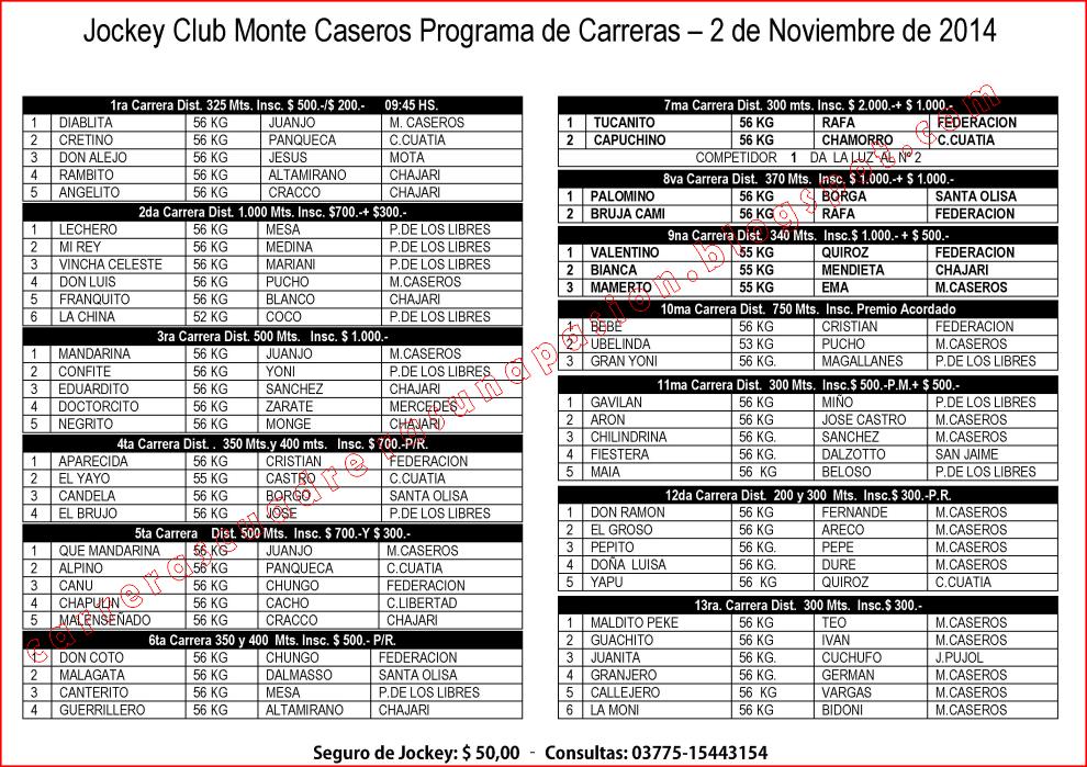 MONTE CASEROS - PROGRAMA