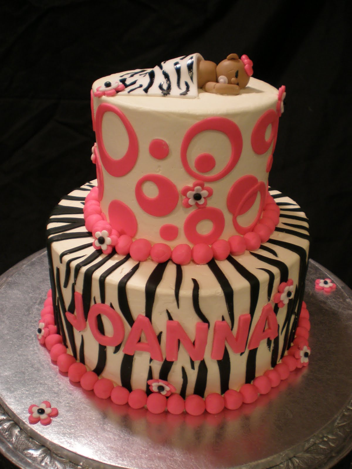 tier zebra baby shower cake designed by