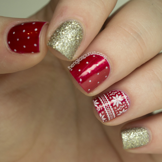 christmas day nails - nailasaurus