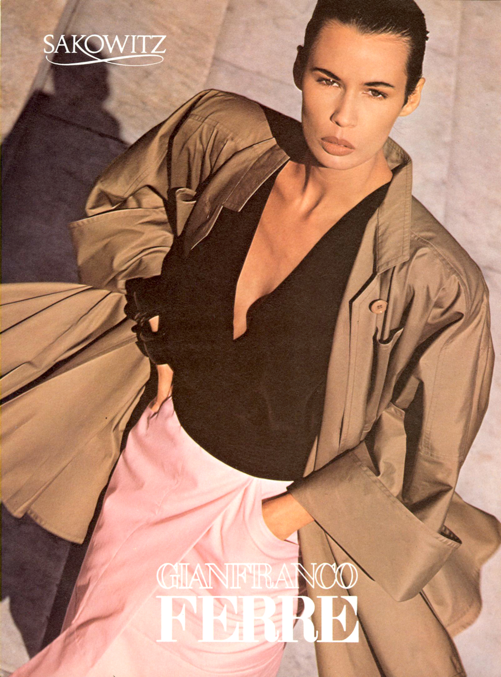 Gianfranco Ferre Spring/Summer 1986 campaign in Vogue US March 1986 via www.fashionedbylove.co.uk