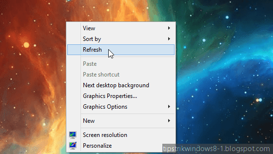 refresh desktop windows 8.1
