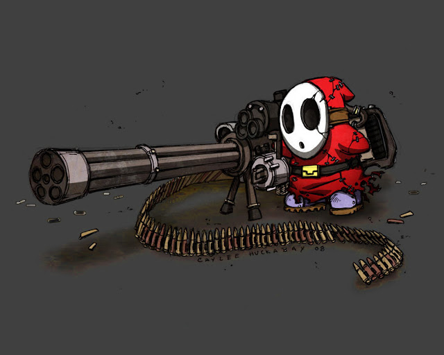 shy guy guys mario machine gun red