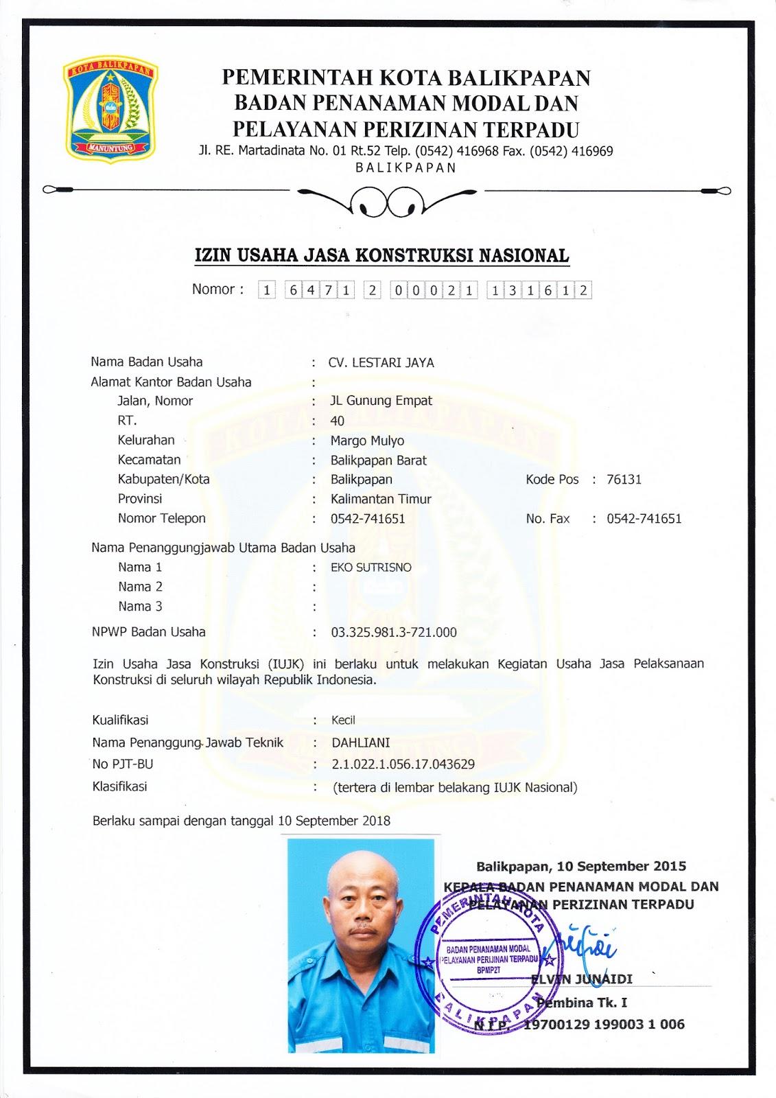 Cv Lestari Jaya Surat Izin Usaha Jasa Konstruksi