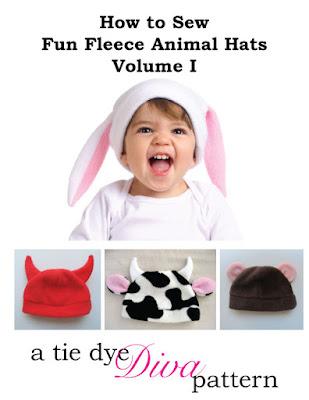 http://www.tiedyedivapatterns.com/product/animal-ears-fleece-hat-pattern-for-baby-and-children-rabbit-hat-cat-hat-horns