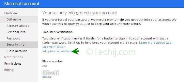 Microsoft two step Verification