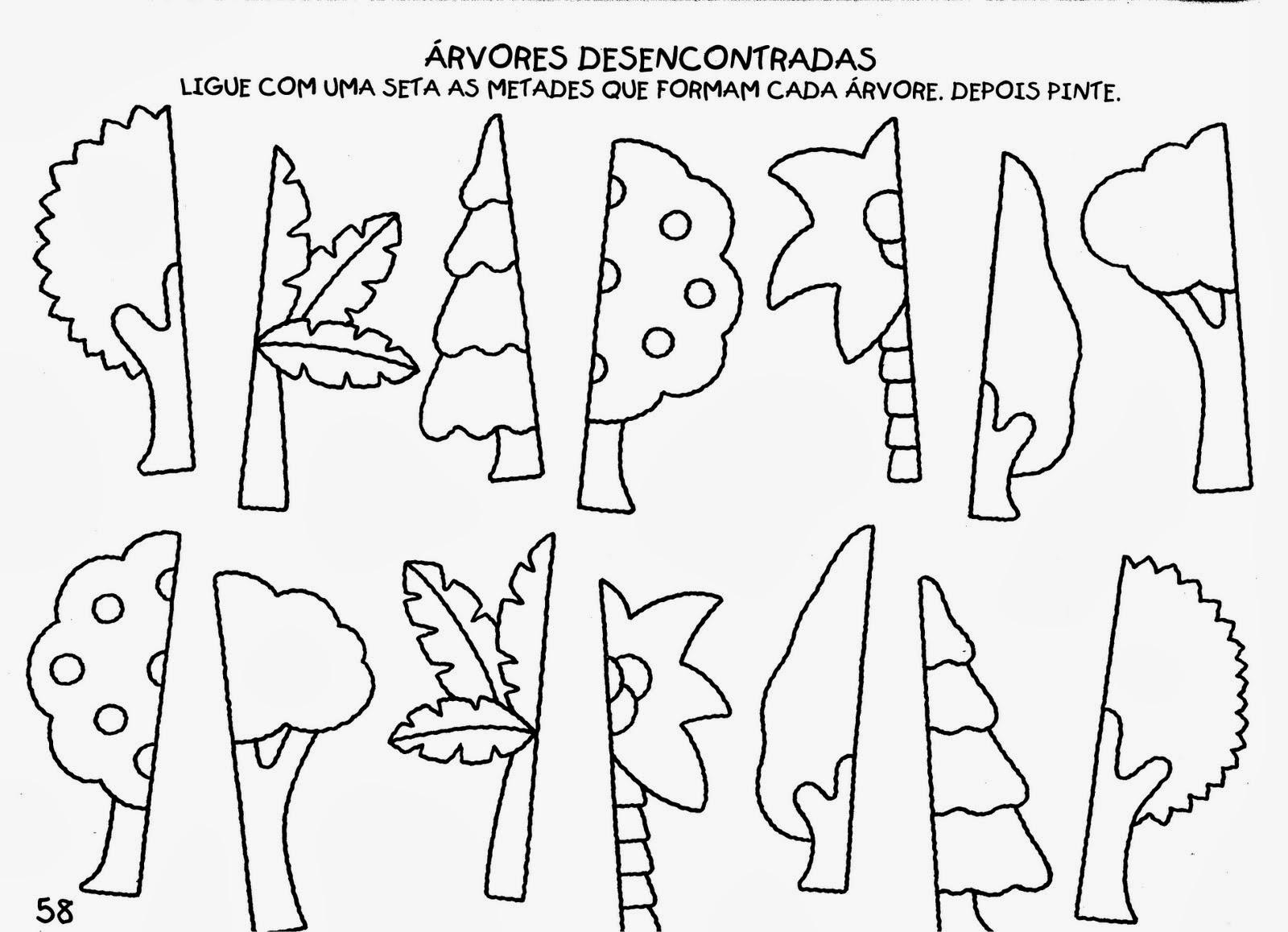 Atividades de Artes - Educação Infantil - Árvores Desencontradas