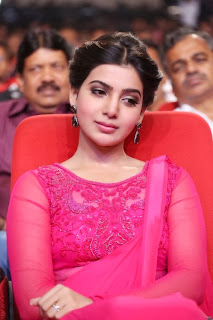 Samantha Ruth Prabhu in Transparent Dark Pink Saree Heavy Work Dark Pink Blouse Simply Beautiful