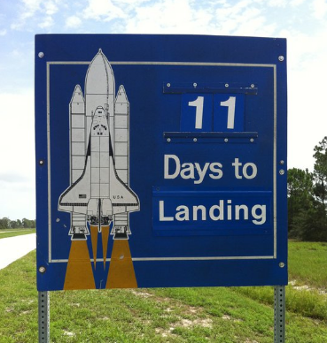 Days to Shuttle Landing Sign