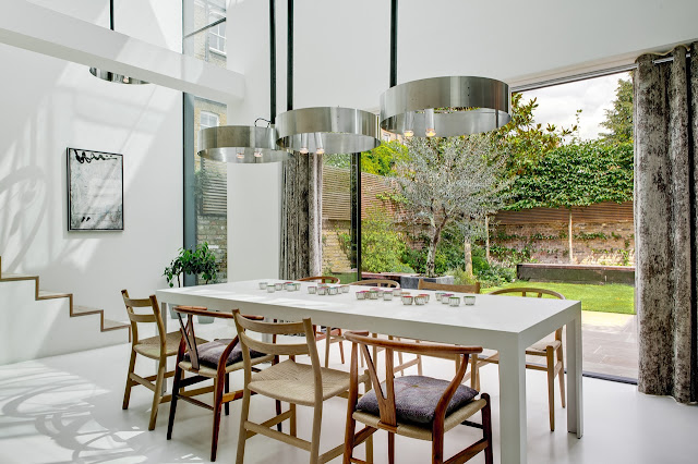 Picture of modern white dining table in the dining room
