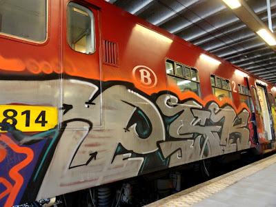 train graffiti panel
