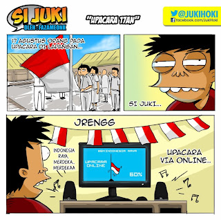Gambar Lucu, Komik lucu si Juki menghayati indonesia raya