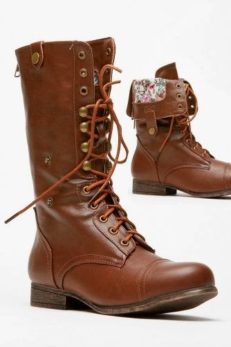 Bamboo Fold Over Floral Print Combat Boot