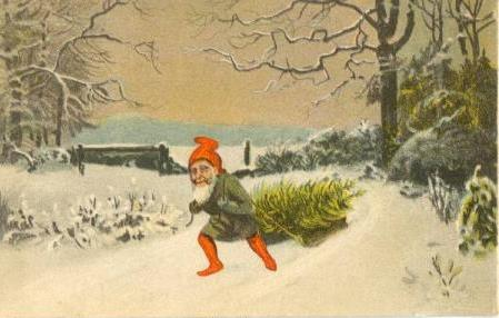 Two vintage danish christmas cards nisse on his way home with a christmas tree purchase the postcard here danish m4hsunfo