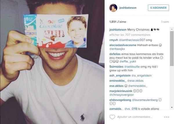 Josh Bateson enfant chocolat kinder instagram