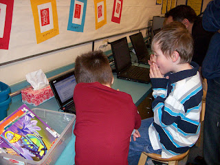 Ms.Cassidy's students working with computers