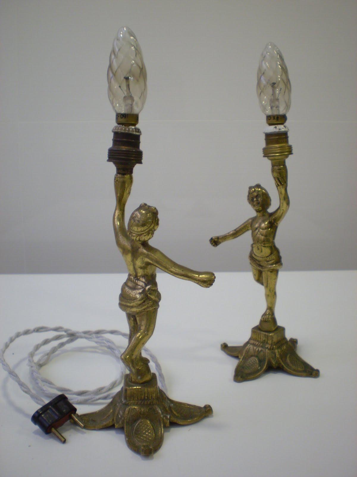 Vintager a pareja de l mparas modernistas de figura de - Lamparas anos 20 ...