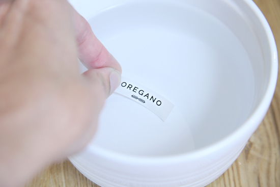 To activate the decal label i dipped it into a small dish of lukewarm water until the clear portion of the label began to separate from the backing