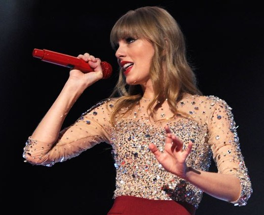 Taylor Swift Singer With Red Fashion And Mic Taylor Swift
