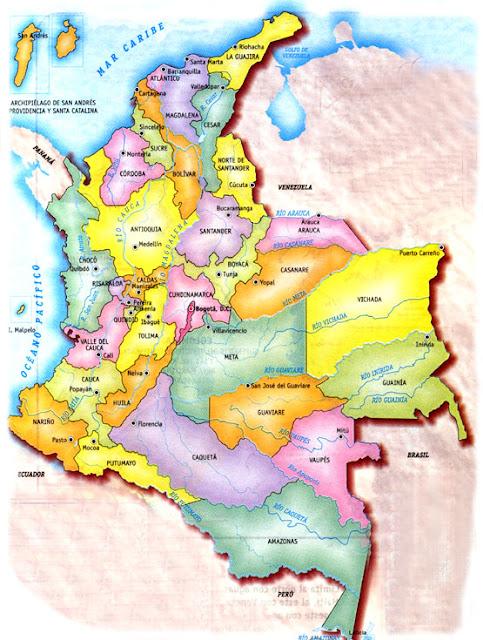 mapa de colombia con departamentos y ciudades