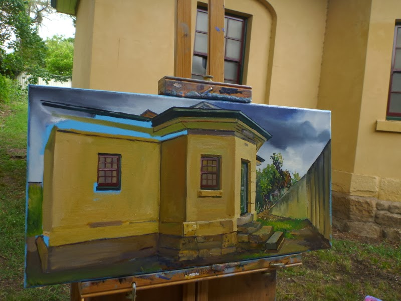 Plein air oil painting of Windsor Tollhouse by artist Jane Bennett