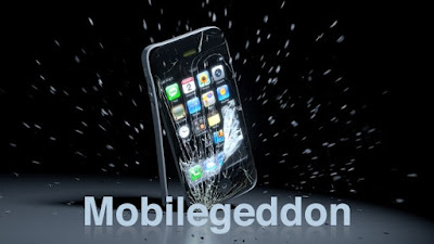 "A smartphone crashing against the ground with the text ""mobilegeddon"" in front of it."