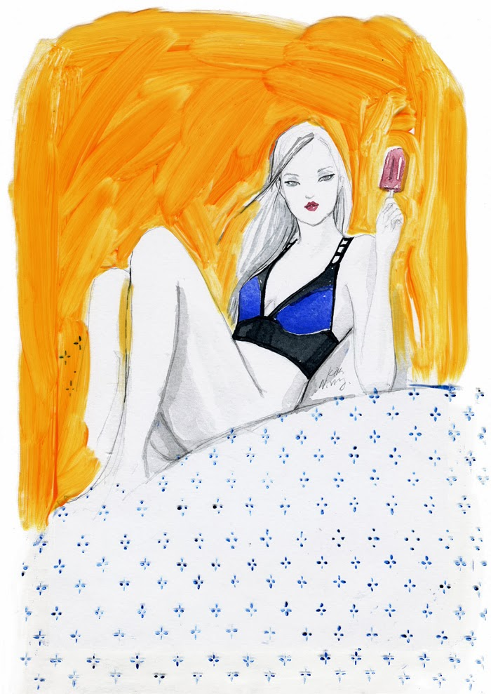 Kitty N. Wong / Turkish Bath ingerie fashion illustration