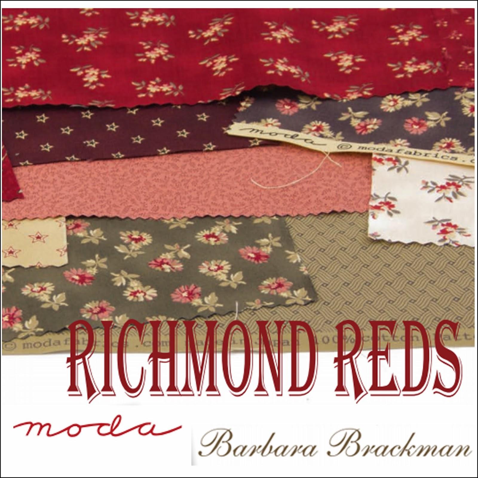 Moda RICHMOND REDS Quilt Fabric by Barbara Brackman for Moda Fabrics