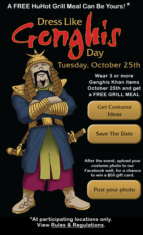 image about Genghis Grill Printable Coupon called Hu scorching discount coupons printable / 5 star discount codes gainesville