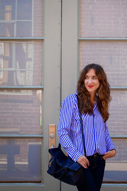 menswear styling, new york and company blouse, striped button down, oxfords for women, brown oxfords with navy laces, kate spade denim, broome street denim, madewell tote, nars red lipstick