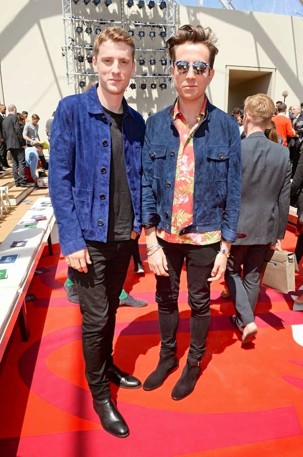 Nick Grimshaw wears Spring Summer 2015 dunhill English Botanical print silk shirt and navy suede driving jacket London Collections: Men LCM Burberry Prorsum show