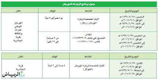 جدول مواعيد وزيارات مهرجان الجنادرية 1437