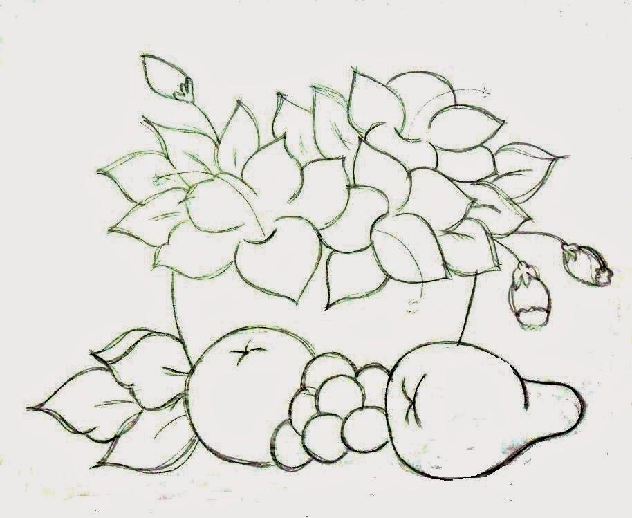 desenho de cesta com flores e frutas para pintar