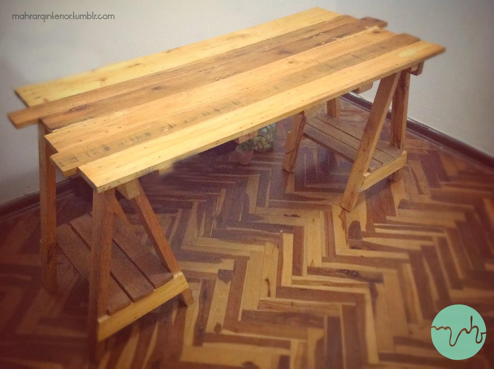 Mahr studio mesa hecha de listones y caballetes de - Mesa con caballetes ...