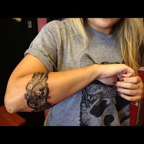 Lace Arm Tattoo